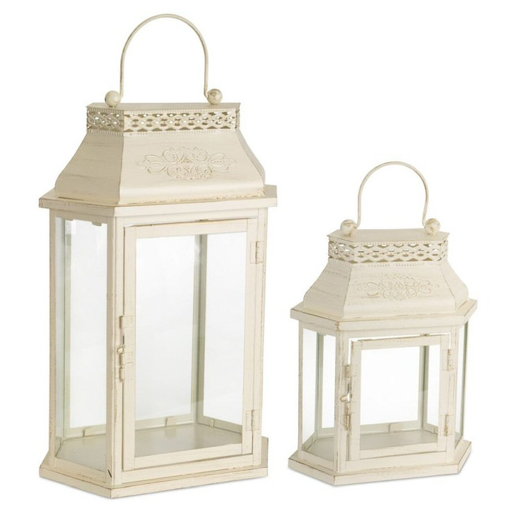 Dynasty Metal Candle Lanterns Candle Holders, Set of 2