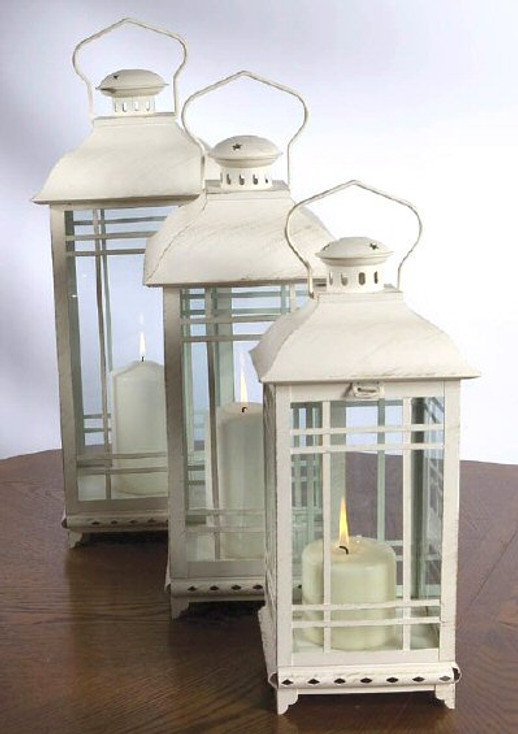 White Candle Lanterns with Round Knob Top, Set of 3