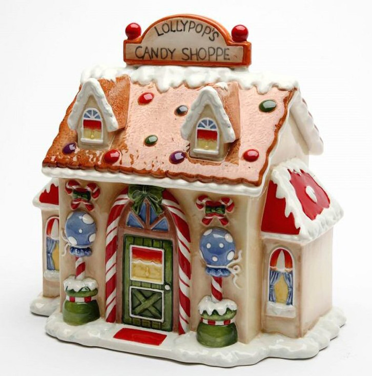 Santa's Village Porcelain Candy Jar by Laurie Furnell