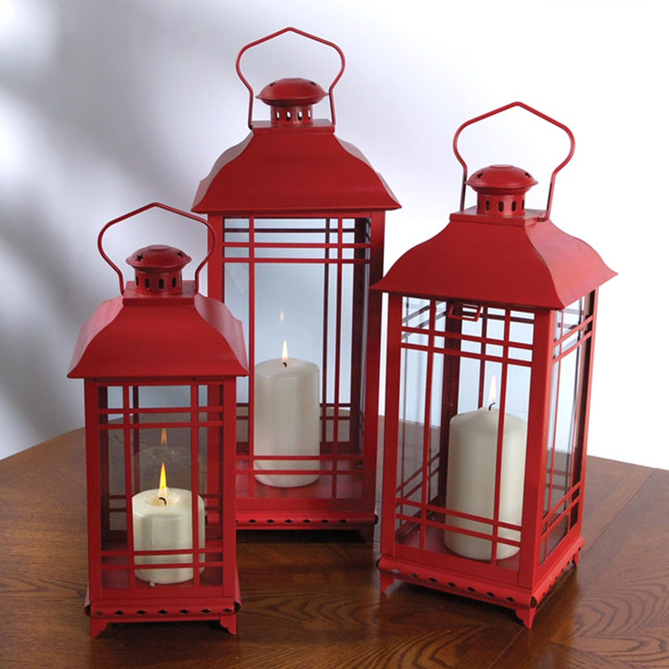 Red Candle Lanterns with Round Knob Top, Set of 3