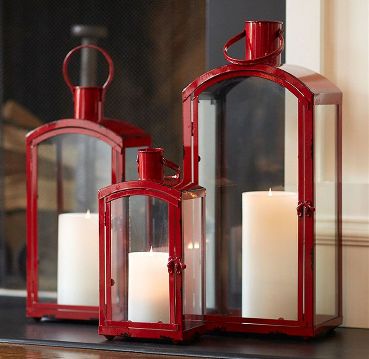 Arched Metal Candle Lanterns Candle Holders, Set of 3