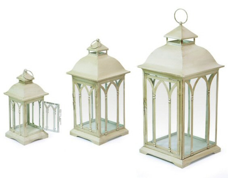 Ivory Metal Candle Lanterns with Chimney Top, Set of 3