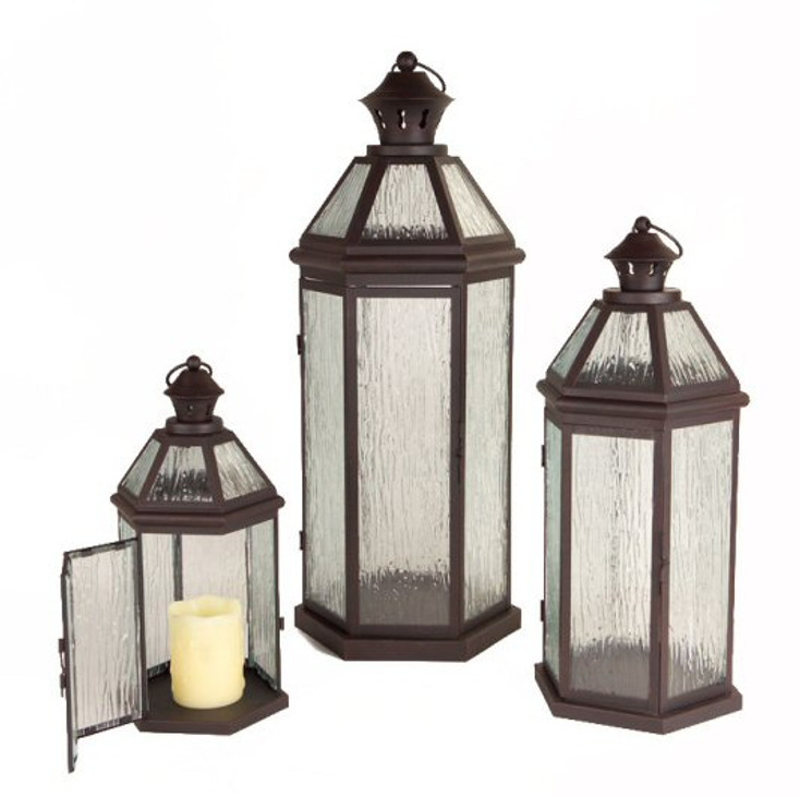 Brown Metal Candle Lanterns with Hinged Door and Ring Top, Set of 3