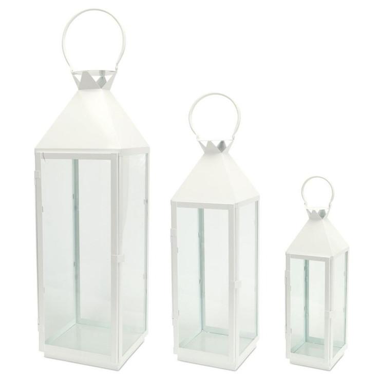 Circle Top Metal Candle Lanterns Candle Holders, Set of 3