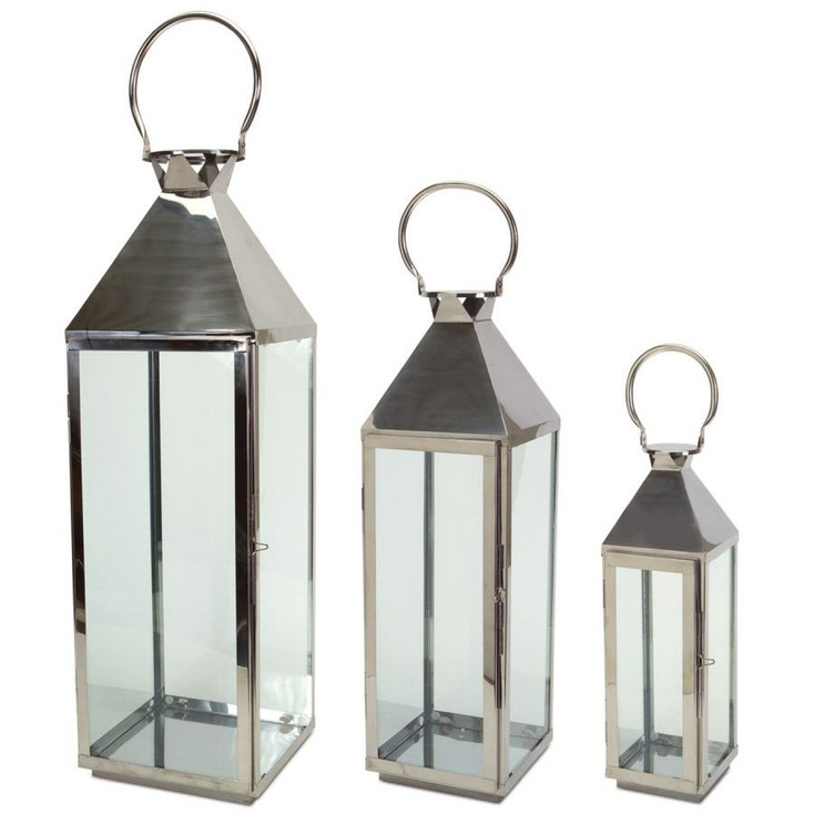Stainless Steel Candle Lanterns Candle Holders, Set of 3