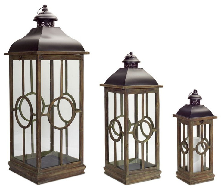Spiral Metal and Wood Candle Lanterns Candle Holders, Set of 3