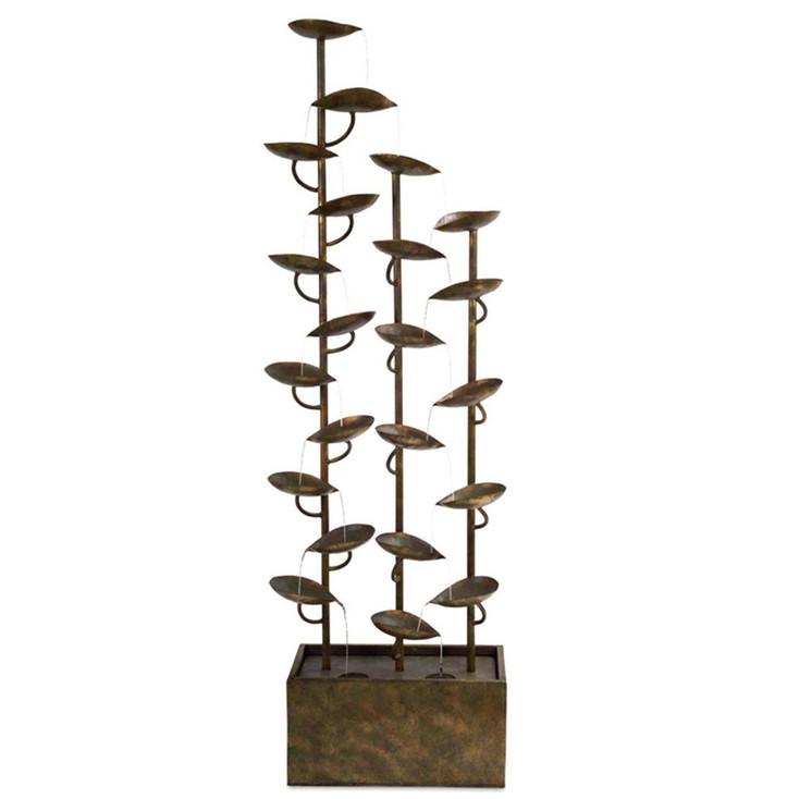 "65"" Three Column Leaf Design Copper Metal Outdoor Fountain"