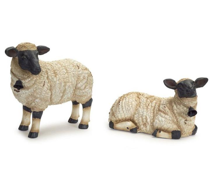 Sheep Sculptures with Bells Around Their Necks, Set of 2