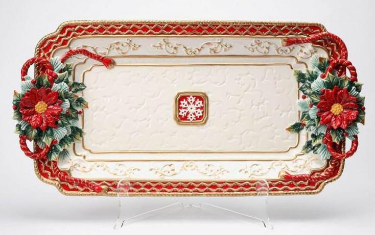 Poinsettia Porcelain Serving Platter