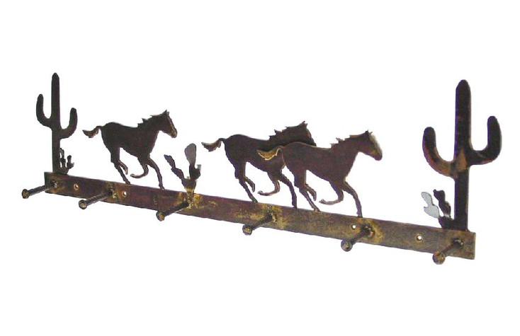 Stampede Horse 6 Hook Metal Coat Rack