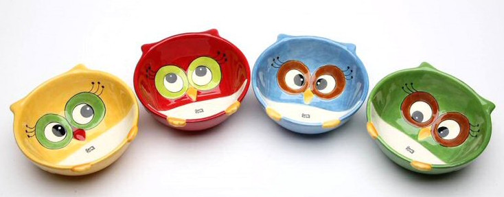 Christmas Owl Porcelain Serving Bowls by Laurie Furnell, Set of 4