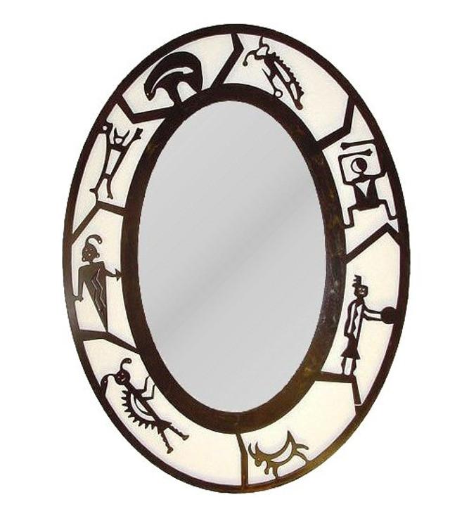Oval Petroglyph Metal Wall Mirror