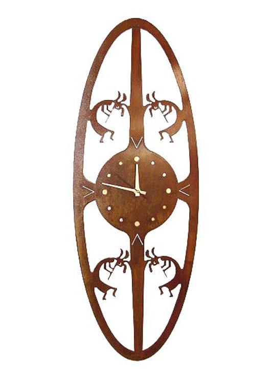 Kokopelli Oval Metal Wall Clock