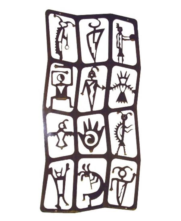 Vertical Flat Petroglyph Metal Wall Art