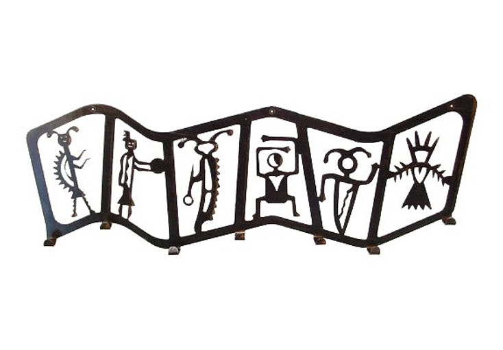 Petroglyph 7 Hook Metal Coat Rack