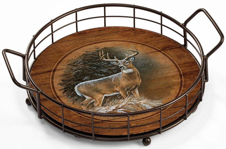 In the Storm Whitetail Deer Metal and Wood Serving Trays, Set of 2