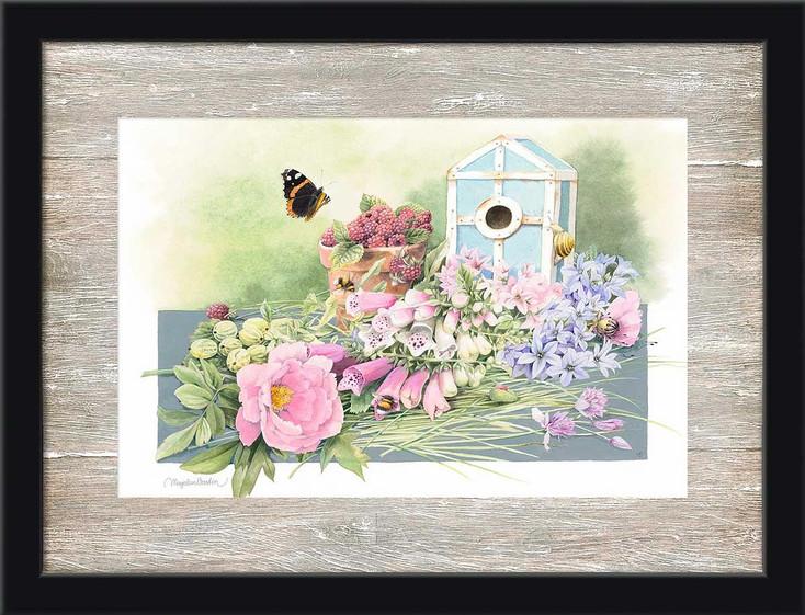 Summer Residence Birdhouse and Flowers Scene Framed Art Print Wall Art