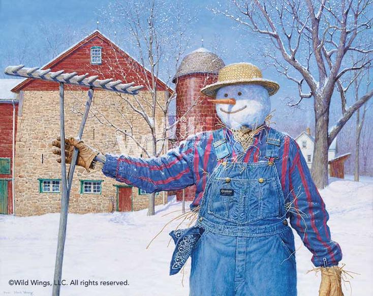 Winter Snowman Scarecrow Limited Edition Art Print Wall Art