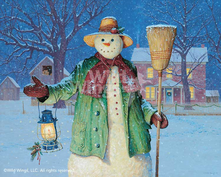 The Lantern's Glow Snowman Limited Edition Art Print Wall Art