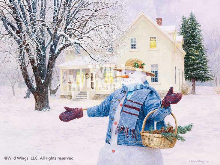 Snowman Gathering Pine Cones Artist Proof Limited Edition Art Print Wall Art