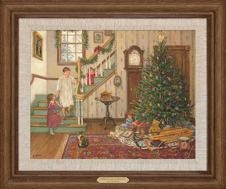 A Christmas Morning Limited Edition Framed Canvas Giclee Art Print Wall Art