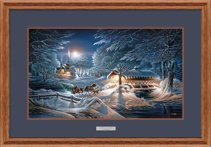 Evening Frost Elite Oak Framed Art Print Wall Art