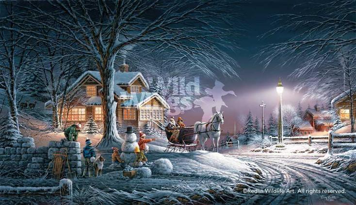 Winter Wonderland Wrapped Canvas Giclee Art Print Wall Art
