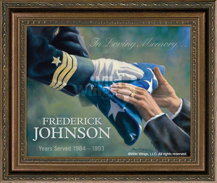 In Loving Memory… Navy Personalized Memorial Framed Canvas Art Print Wall Art