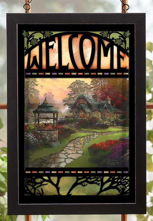 Welcome Make a Wish Cottage Stained Glass Wall Art