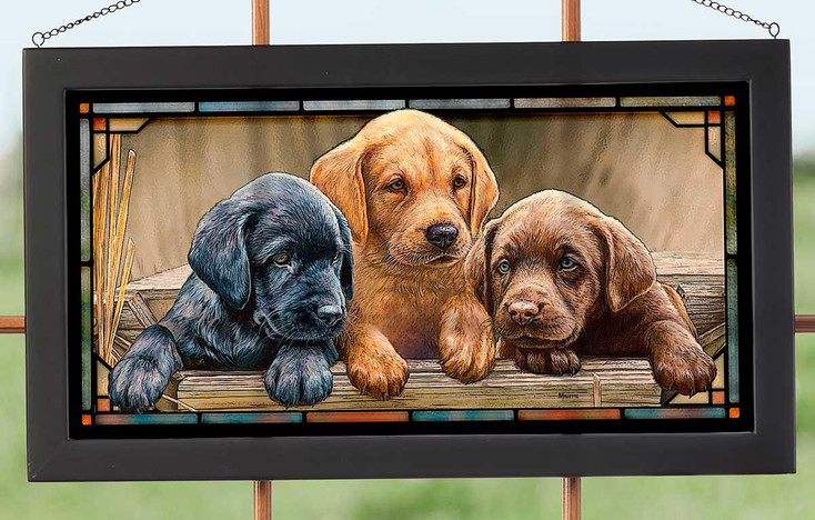All Hands on Deck Lab Puppies Stained Glass Wall Art