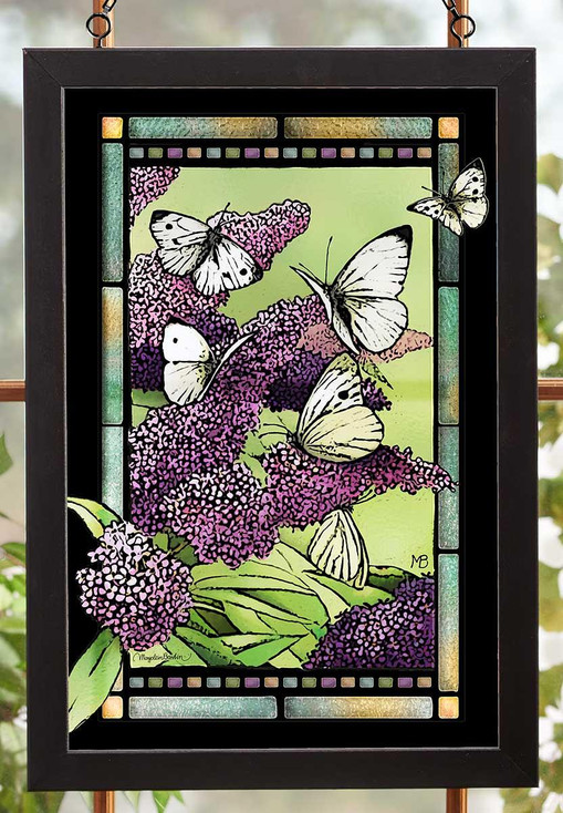 Purple Lilac Flowers and Butterflies Stained Glass Wall Art