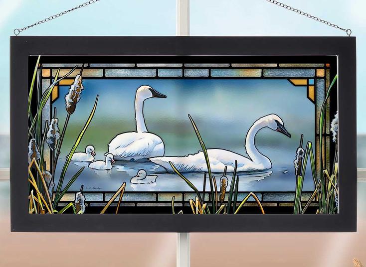 New Beginnings Swan Birds Stained Glass Wall Art