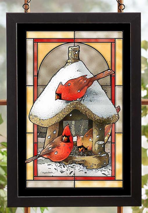 Cardinal Birds at the Bird Feeder Stained Glass Wall Art