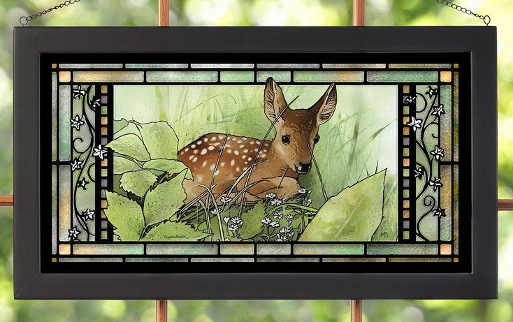 Hidden Fawn in Nature Stained Glass Wall Art