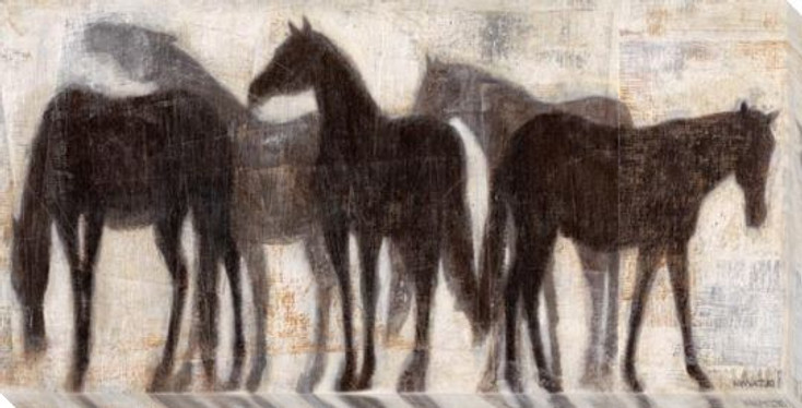 Grazing Equine Horses Wrapped Canvas Giclee Print Wall Art