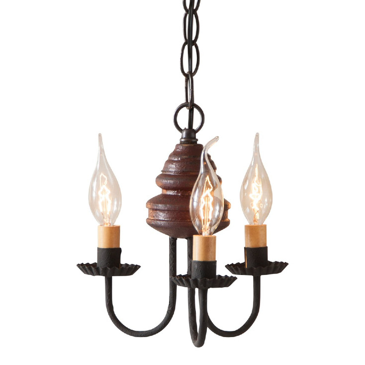 Americana Plantation Red Bellview Wood Chandelier