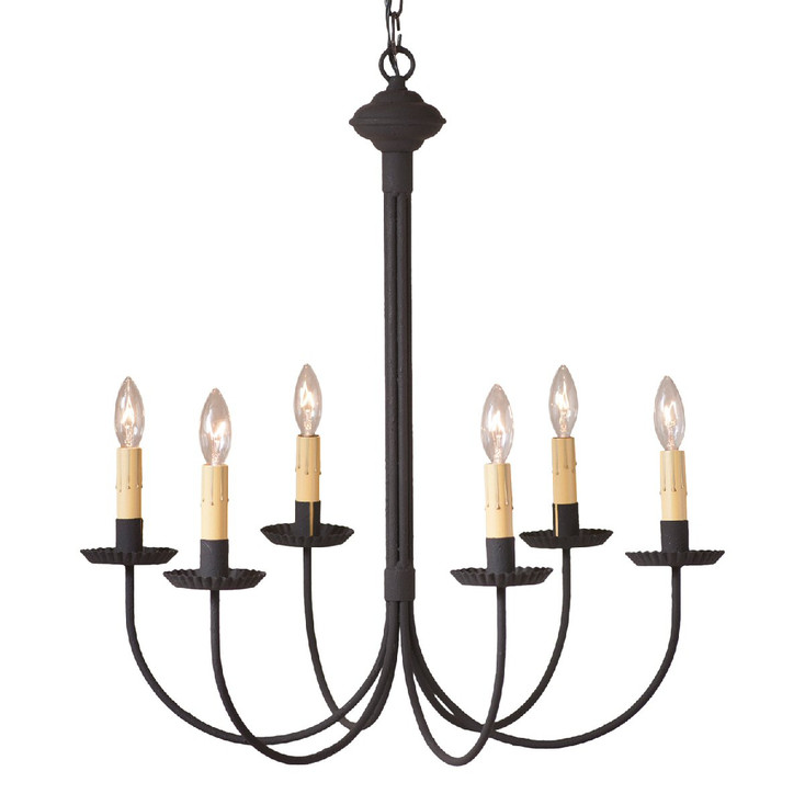 Textured Black 6-Arm Grandview Metal Chandelier with Ecru Sleeves