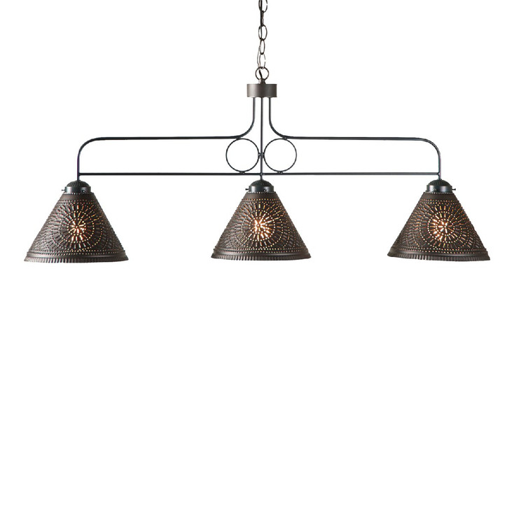 Kettle Black Large Franklin Punched Chisel Pierced Tin Island Light