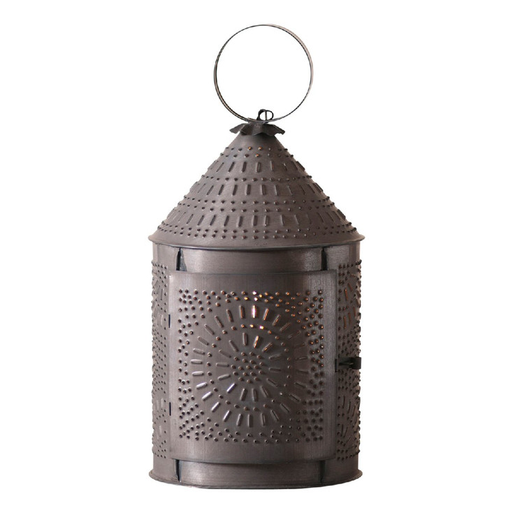 """15"""" Blackened Tin Fireside Punched Chisel Pierced Tin Electric Lantern"""