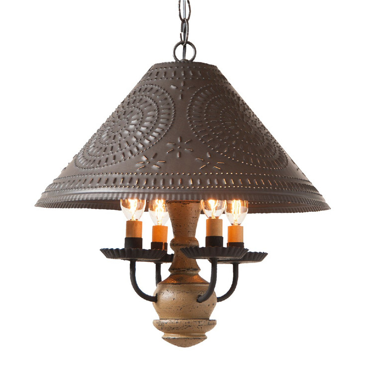 Americana Pearwood Homespun Shade Punched Chisel Pierced Tin Pendant Light