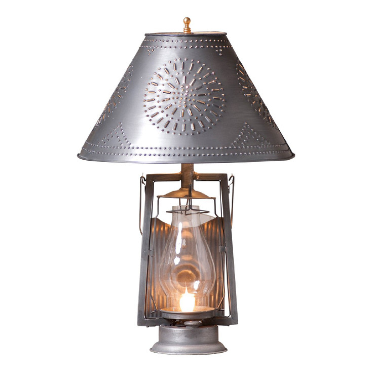 Antique Tin Farmer's Metal and Glass Table Lamp with Punched Chisel Pierced Tin Shade