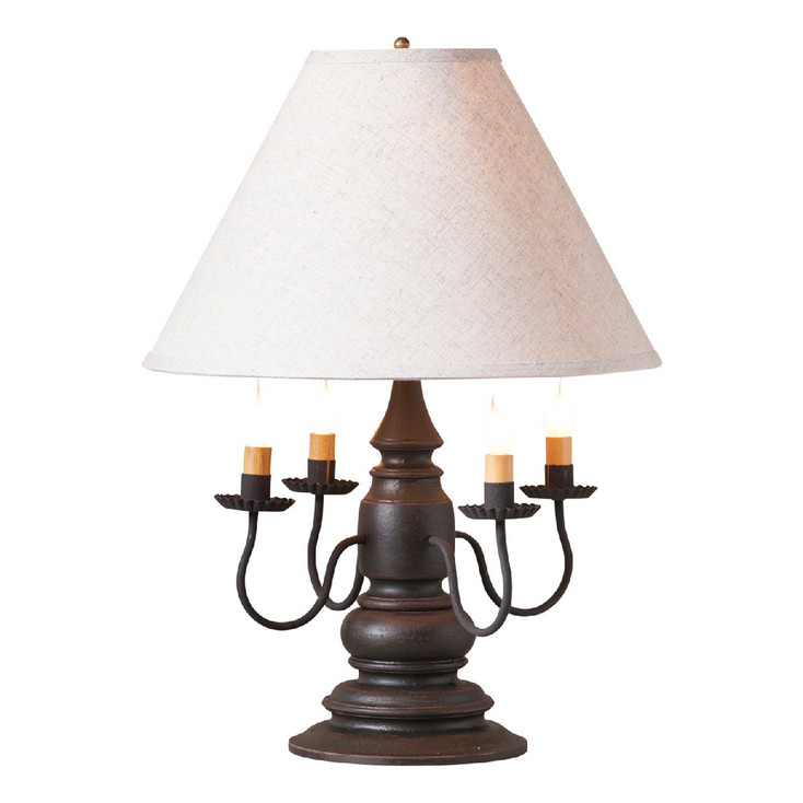 Americana Black Harrison Wood and Metal Table Lamp with Linen Shade