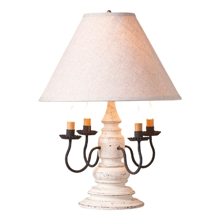 Americana White Harrison Wood and Metal Table Lamp with Linen Shade