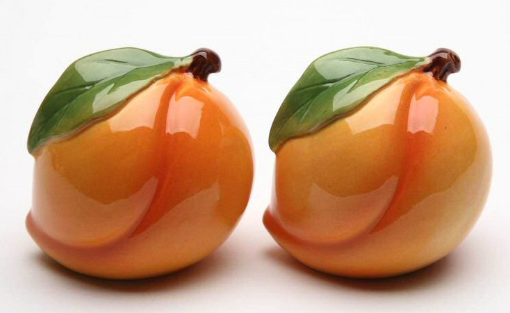 Peach Porcelain Salt and Pepper Shakers, Set of 4