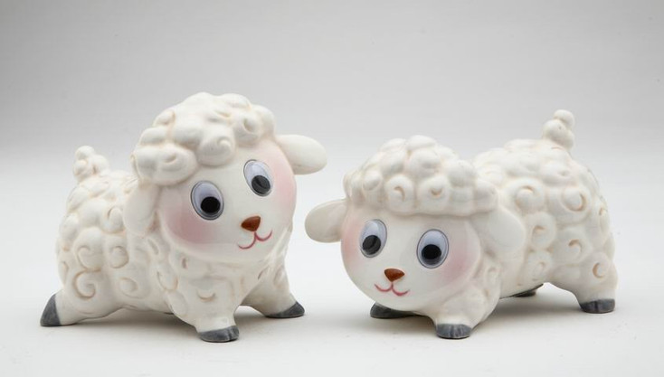 Two Little Lambs Ceramic Salt and Pepper Shakers, Set of 4