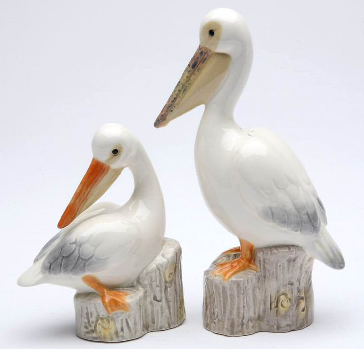 Pelican Bird Porcelain Salt and Pepper Shakers, Set of 4