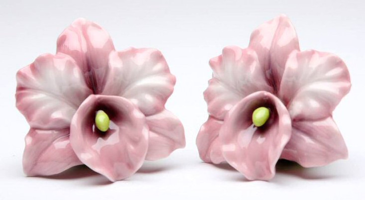 Pink Orchid Flower Porcelain Salt and Pepper Shakers, Set of 4