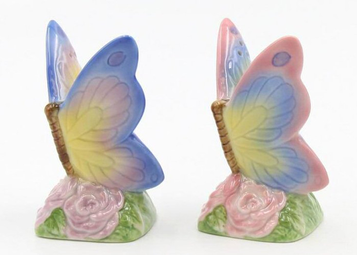 Butterfly Porcelain Salt and Pepper Shakers, Set of 4