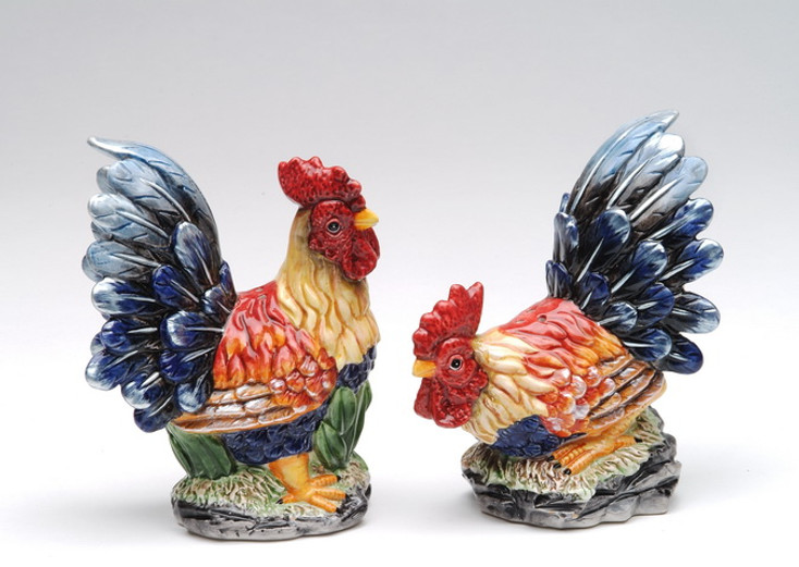 Two Colorful Roosters Ceramic Salt and Pepper Shakers, Set of 4