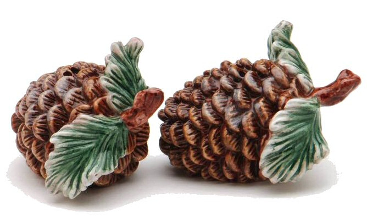 Pine Cone Porcelain Salt and Pepper Shakers, Set of 4